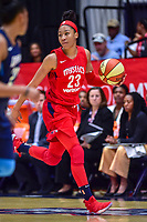 Washington, DC - August 31, 2018: Washington Mystics forward Aerial Powers (23) handles the ball during semi finals playoff game between Atlanta Dream and Wasington Mystics at the Charles Smith Center at George Washington University in Washington, DC. (Photo by Phil Peters/Media Images International)