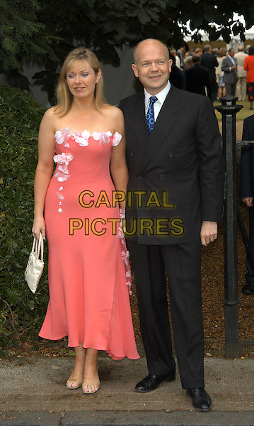 WILLIAM HAGUE & WIFE FFION.David Frost's summer party.sales@capitalpictures.com.www.capitalpictures.com.©Capital Pictures.full length, full-length, long strapless peach dress