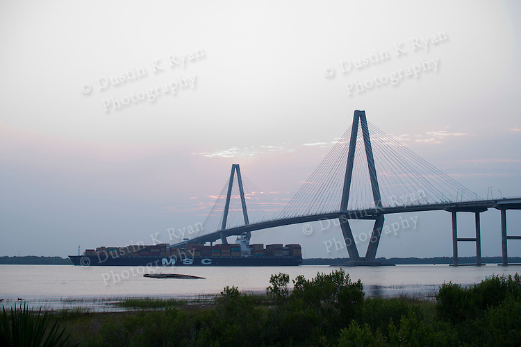 Arthur Ravenel Jr Bridge over the Cooper River Charleston SC Container Ship