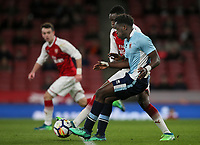 Blackpool U18's Nana Adarkwa competing with Arsenal U18's James Olayinka <br /> <br /> Photographer Andrew Kearns/CameraSport<br /> <br /> Emirates FA Youth Cup Semi- Final Second Leg - Arsenal U18 v Blackpool U18 - Monday 16th April 2018 - Emirates Stadium - London<br />  <br /> World Copyright &copy; 2018 CameraSport. All rights reserved. 43 Linden Ave. Countesthorpe. Leicester. England. LE8 5PG - Tel: +44 (0) 116 277 4147 - admin@camerasport.com - www.camerasport.com