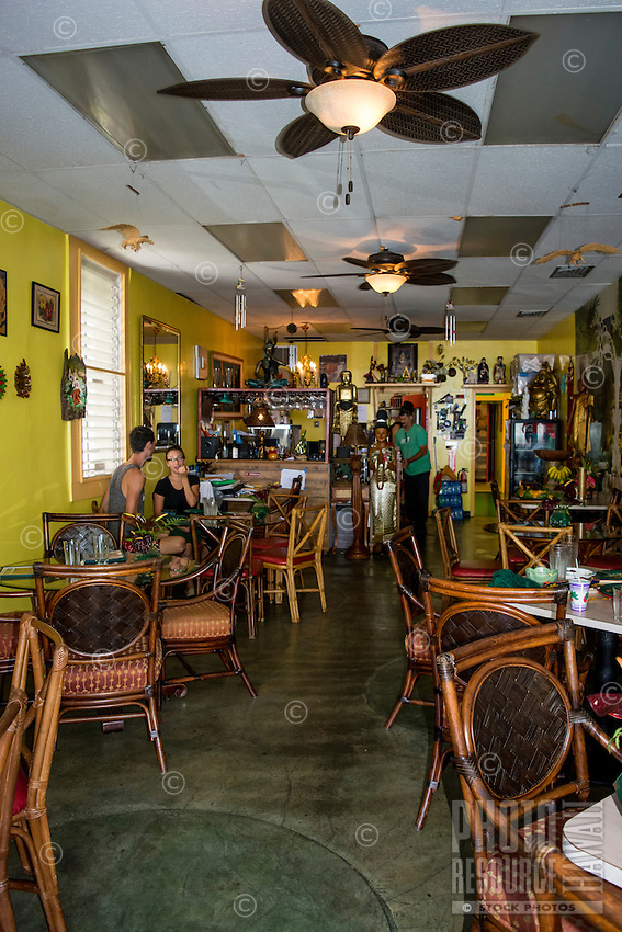 The interior of a Thai restaurant along the waterfront, King Kamehameha Avenue, downtown Hilo, Big Island of Hawai'i.