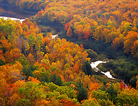 Porcupine Mountains Wilderness State Park, MI<br /> Carp river, Lake of the Clouds and autumn canopy of hardwood forest from the Escarpment trail