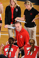 20 November 2008:  Western Kentucky Volleyball Head Coach Travis Hudson speaks with his players during a time out in the WKU 3-0 victory over Denver in the first round of the Sun Belt Conference Championship tournament at FIU Stadium in Miami, Florida.
