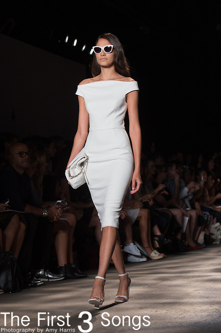 A model walks the runway at the Christian Siriano fashion show during Mercedes-Benz Fashion Week Spring 2015 at Eyebeam on September 6, 2014 in New York City.