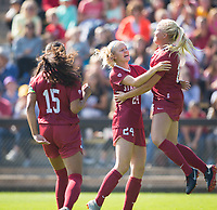 STANFORD, CA - October 21, 2018: Abby Greubel, Civana Kuhlmann, Alana Cook at Laird Q. Cagan Stadium. No. 1 Stanford Cardinal defeated No. 15 Colorado Buffaloes 7-0 on Senior Day.