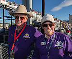 """Alan Kingsley and Alex Davis during Purple Night at the Rodeo on Tuesday night, June 21, 2016.  """"Man Up Crusade Night"""" encouraged rodeo goers to wear purple for advocacy to stop domestic violence."""