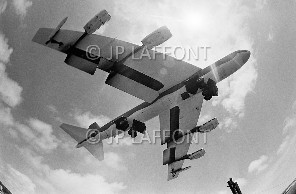 June 1972, Guam --- The Andersen Air Force Base on Guam Island from where the B-52 Stratofortress planes take off for Vietnam. A B-52 bomber taking off from Guam. --- Image by © JP Laffont
