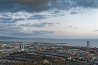 General view of Swansea Bay, the city centre, the port and the marina, Wales, UK. Wednesday 30 January 2019