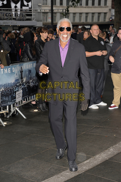 Morgan Freeman.'The Dark Knight Rises' European premiere at Odeon Leicester Square cinema, London, England..18th July 2012.full length black suit purple shirt glove smiling sunglasses shades beard facial hair .CAP/PL.©Phil Loftus/Capital Pictures.