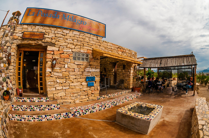 Espresso y Poco Mas (a local coffee shop) at La Posada Milagro, a guesthouse in Terlingua Ghosttown, near Big Bend National Park, Texas USA.