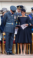 Prince Harry, Meghan Duchess of Sussex on the balcony of Buckingham Palace<br /> The Royal Family watch RAF centenary fly-past at Buckingham Palace, The Mall, London, England on July 10, 2018.<br /> CAP/GOL<br /> &copy;GOL/Capital Pictures