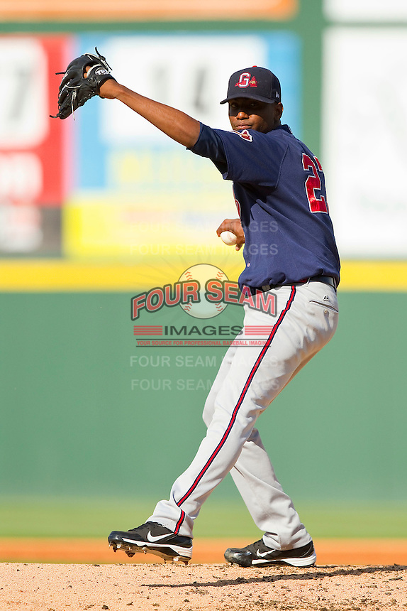 Gwinnett Braves starting pitcher Julio Teheran #27 in action against the Charlotte Knights at Knights Stadium on June 3, 2012 in Fort Mill, South Carolina.  The Braves defeated the Knights 5-1.  (Brian Westerholt/Four Seam Images)