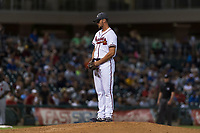 AFL West relief pitcher Kyle Muller (22), of the Peoria Javelinas and Atlanta Braves organization, looks in for the sign during the Arizona Fall League Fall Stars game at Surprise Stadium on November 3, 2018 in Surprise, Arizona. The AFL West defeated the AFL East 7-6 . (Zachary Lucy/Four Seam Images)