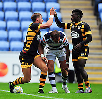 Josh Bassett of Wasps celebrates his try with team-mate Christian Wade. Pre-season friendly match, between Wasps and Yorkshire Carnegie on August 21, 2016 at the Ricoh Arena in Coventry, England. Photo by: Patrick Khachfe / JMP