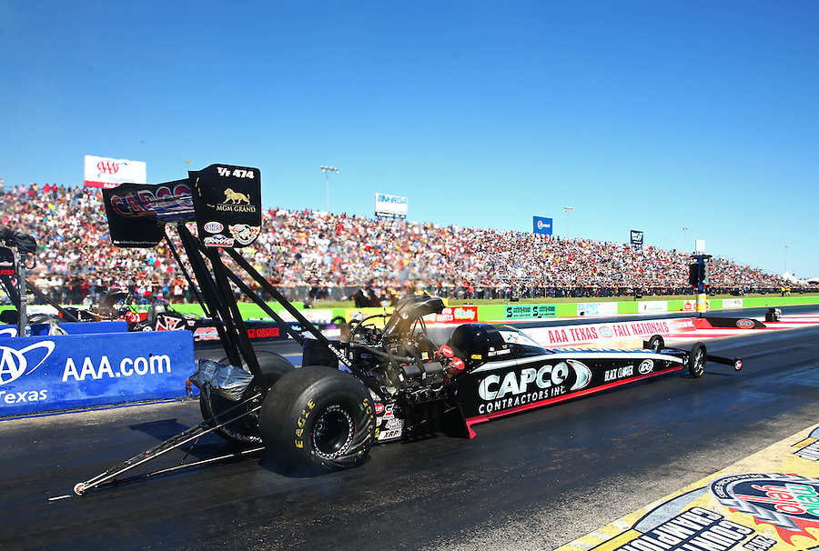 Sept. 21, 2013; Ennis, TX, USA: NHRA top fuel dragster driver Billy Torrence during qualifying for the Fall Nationals at the Texas Motorplex. Mandatory Credit: Mark J. Rebilas-
