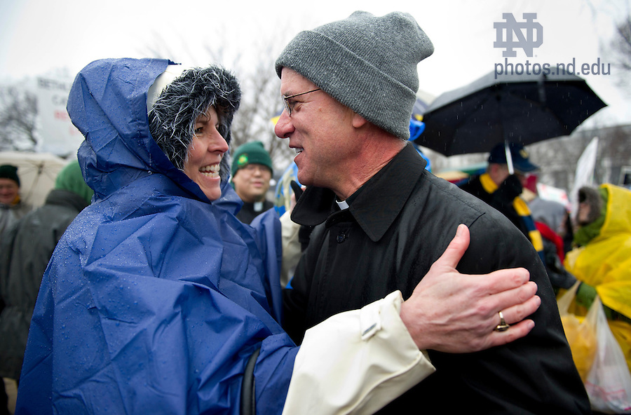 January 23, 2012;  Dolly Duffy and Bishop Kevin Rhoades, Bishop of the Fort Wayne-South Bend diocese, greet each other at the March for Life in Washington, D.C. Photo by Barbara Johnston/University of Notre Dame