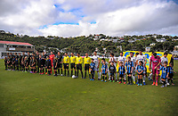 The teams line up before the Oceania Football Championship final (second leg) football match between Team Wellington and Auckland City FC at David Farrington Park in Wellington, New Zealand on Sunday, 7 May 2017. Photo: Dave Lintott / lintottphoto.co.nz