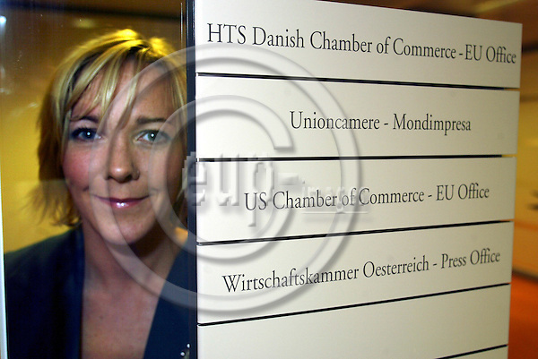 BRUSSELS - BELGIUM  -29 SEPTEMBER 2004--HTS, Danish Chamber of Commerce, opening of new Brussels Office--Anne Marie DAMGAARD, head of the Brussels office of HTS.--PHOTO: ERIK LUNTANG / EUP-IMAGES..