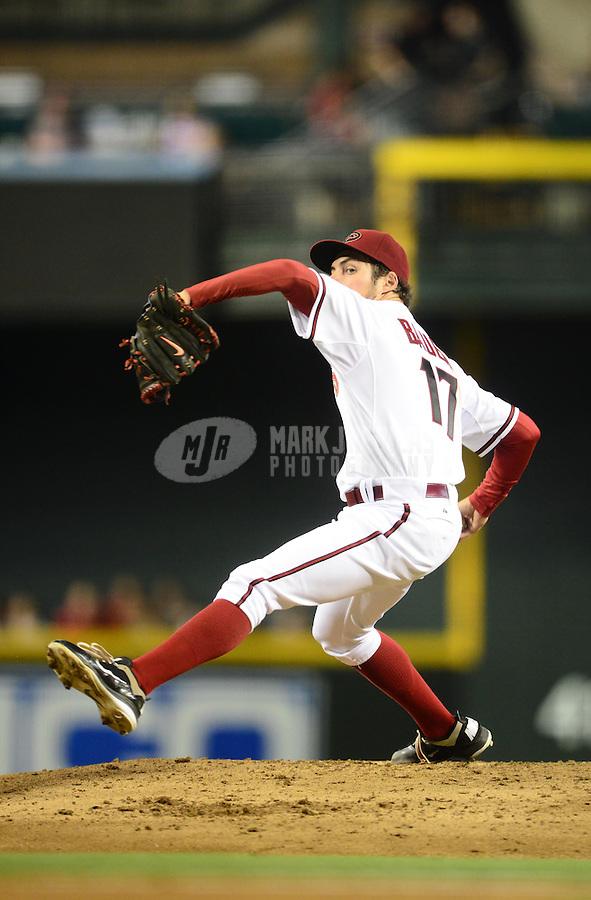 Jul. 3, 2012; Phoenix, AZ, USA: Arizona Diamondbacks pitcher Trevor Bauer against the San Diego Padres at Chase Field. Mandatory Credit: Mark J. Rebilas-