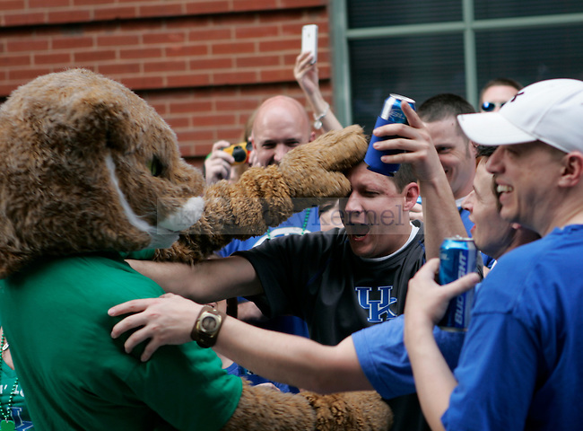 Kentucky fans celebrate with the Wildcat during the pre-game pep rally for UK's game against Iowa State outside KFC Yum! Center, March 17, 2012 in Louisville Ky. Photo by Brandon Goodwin | Staff