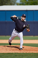 New York Yankees pitcher Matt Wivinis (17) during a Minor League Spring Training game against the Detroit Tigers on March 21, 2018 at the New York Yankees Minor League Complex in Tampa, Florida.  (Mike Janes/Four Seam Images)