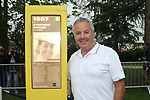 Former winner Stephen Roche (IRL) stands beside the newly unveiled sign dedicated to his 1987 Tour victory before Stage 12 of the 104th edition of the Tour de France 2017, running 214.5km from Pau to Peyragudes, France. 13th July 2017.<br /> Picture: ASO/Olivier Chabe | Cyclefile<br /> <br /> <br /> All photos usage must carry mandatory copyright credit (&copy; Cyclefile | ASO/Olivier Chabe)