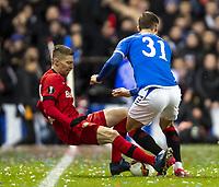 12th March 2020, Ibrox Stadiu, Glasgow, Scotland; Europa League football, Glasgow Rangers versus Bayer Leverkusen;  Leverkusens Mitchell Weiser is pushed off the ball by Glasgows Borna Barisic