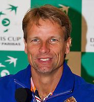 September 10, 2014,Netherlands, Amsterdam, Ziggo Dome, Davis Cup Netherlands-Croatia, Press conference, Dutch team  captain Jan Siemerink.<br /> Photo: Tennisimages/Henk Koster