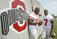 Ohio State's Troy Smith, left, and Ted Ginn Jr. pose at Ohio State's practice facility Monday, July 31, 2006 in Columbus, Ohio.<br />