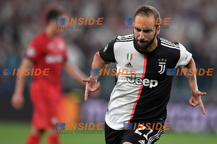 Gonzalo Higuain of Juventus celebrates after scoring the goal of 1-0 for his side <br /> Torino 01/10/2019 Juventus Stadium <br /> Football Champions League 2019//2020 <br /> Group Stage Group D <br /> Juventus - Leverkusen <br /> Photo Andrea Staccioli / Insidefoto