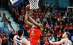 ****BETALBILD**** <br /> Uppsala 2015-04-24 Basket SM-Final 3 Uppsala Basket - S&ouml;dert&auml;lje Kings :  <br /> Uppsalas Dwight Anthony Burke p&aring; v&auml;g att g&ouml;ra po&auml;ng under matchen mellan Uppsala Basket och S&ouml;dert&auml;lje Kings <br /> (Foto: Kenta J&ouml;nsson) Nyckelord:  Basket Basketligan SM SM-final Final Fyrishov Uppsala S&ouml;dert&auml;lje Kings SBBK