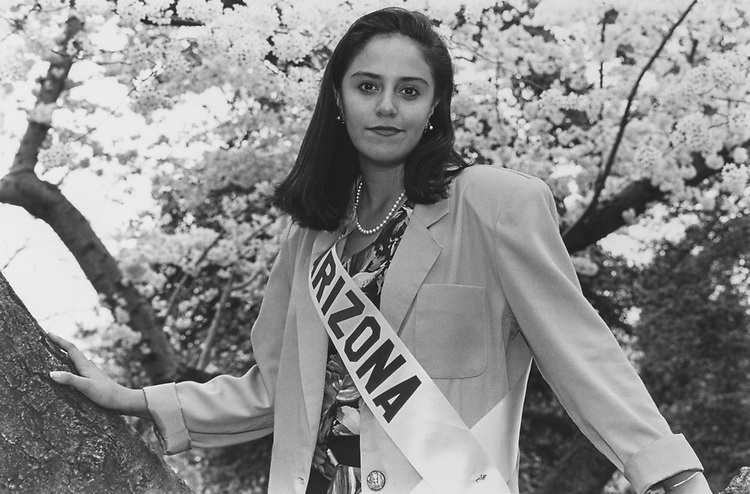 Daughter of Rep. Ed Pastor, Yvonne Pastor (19) is the 1992 Cherry Blossom Princess from Arizona. Currently she is a Freshman at University of Arizona. These photos taken on Capitol Hill grounds after Gala Festival Luncheon on April 7, 1992. (Photo by Chris Ayers/CQ Roll Call via Getty Images)