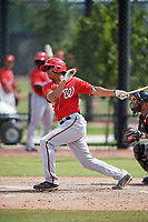 Washington Nationals Blake Perkins (27) during a Minor League Spring Training game against the Miami Marlins on March 28, 2018 at FITTEAM Ballpark of the Palm Beaches in West Palm Beach, Florida.  (Mike Janes/Four Seam Images)