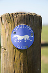 Sign for White Horse Trail walk on fence post on  Vale of Pewsey, Wiltshire, England, UK