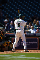 Davion Downey (9) of the Baylor Bears at bat against the Missouri Tigers in game one of the 2020 Shriners Hospitals for Children College Classic at Minute Maid Park on February 28, 2020 in Houston, Texas. The Bears defeated the Tigers 4-2. (Brian Westerholt/Four Seam Images)
