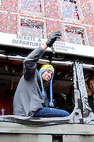 February 4, 2015 - Boston, Massachusetts, U.S. - New England Patriots tight end Rob Gronkowski (87) celebrates with a beer during a parade held in Boston to celebrate the team's victory over the Seattle Seahawks in Super Bowl XLIX. Eric Canha/CSM