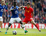 Idrissa Gueye of Everton in action with Philippe Coutinho of Liverpool during the English Premier League match at Anfield Stadium, Liverpool. Picture date: April 1st 2017. Pic credit should read: Simon Bellis/Sportimage