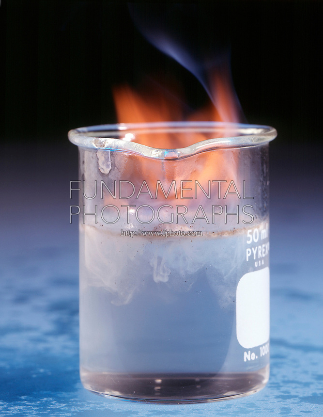 POTASSIUM REACTS EXPLOSIVELY WITH WATER<br /> (Variations Available)<br /> Elemental Potassium In Beaker of Water<br /> Potassium, an alkali metal, dropped in water forms hydrogen gas and an alkali solution of Potassium hydroxide. This is a single replacement reaction.  2K(s) + 2H2O(l) -> 2KOH(aq) + H2(g)