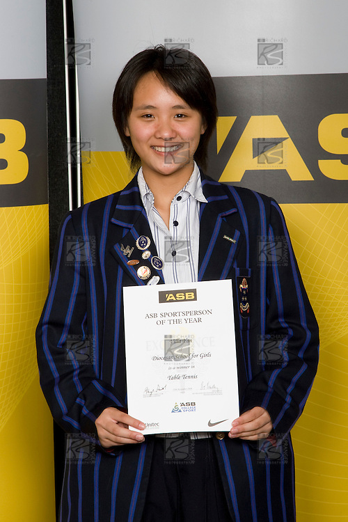 Girls Table Tennis winner Villa Yan from Diocesan School for Girls. ASB College Sport Young Sportperson of the Year Awards 2008 held at Eden Park, Auckland, on Thursday November 13th, 2008.