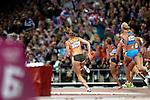 Engeland, London, 4 Augustus 2012.Olympische Spelen London.Meerkampster Dafne Schippers in actie op het onderdeel verspringen op de Olympische Spelen in Londen 2012.