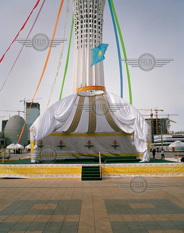 A yurt erected for Norooz, the first day of spring and the beginning of the Iranian new year. Behind it is Bayterek tower, one of the symbols of the new capital city.