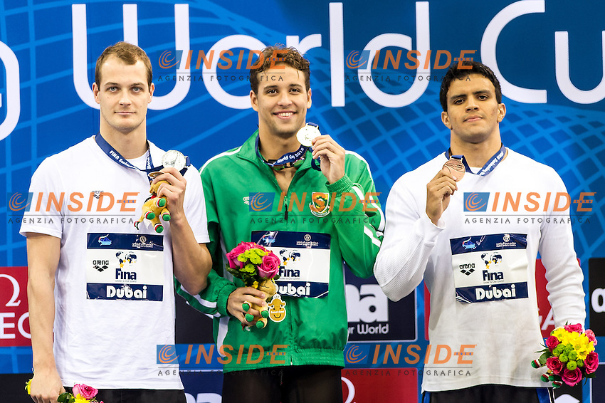 Pawel Korzeniowski Poland (L)<br /> Chad Le Clos South Africa<br /> VELOSO&nbsp;DE&nbsp;CASTRO&nbsp;Frederico Brasil (R)<br /> 200 Butterfly Men <br /> FINA Swimming World Cup 2013<br /> Dubai 16 - 18 October 2013<br /> Day 1 October 17 Finals<br /> Hamdan bin Mohammed bin Rashid Sport Complex<br /> Photo G.Scala/Insidefoto