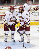 Cam Atkinson (BC - 13), Brian Gibbons (BC - 17) - The Boston College Eagles defeated the University of Massachusetts-Amherst Minutemen 2-1 (OT) on Friday, February 26, 2010, at Conte Forum in Chestnut Hill, Massachusetts.