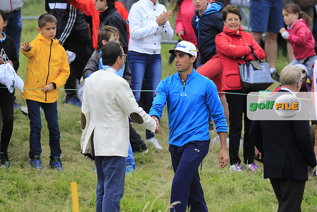 Rafa Cabrera-Bello (ESP) finishes on the 18th during Round 4 of the 100th Open de France, played at Le Golf National, Guyancourt, Paris, France. 03/07/2016. <br /> Picture: Thos Caffrey | Golffile<br /> <br /> All photos usage must carry mandatory copyright credit   (&copy; Golffile | Thos Caffrey)