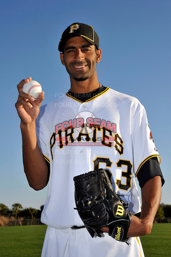 Feb 28, 2010; Bradenton, FL, USA; Pittsburgh Pirates  pitcher Ronaldo Uviedo (63) during  photoday at Pirate City. Mandatory Credit: Tomasso De Rosa/ Four Seam Images