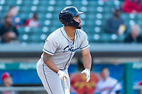 Columbus Clippers first baseman Bobby Bradley (44) during an International League game against the Indianapolis Indians on April 29, 2019 at Victory Field in Indianapolis, Indiana. Indianapolis defeated Columbus 5-3. (Zachary Lucy/Four Seam Images)