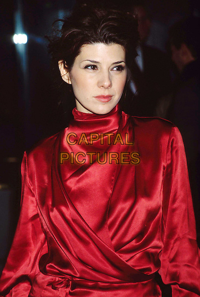 """MARISA TOMEI ..Charity Screening of """"In the Bedroom"""" at the National Film Theatre...Ref: 11377..red, satin, half length, half-length..www.capitalpictures.com..sales@capitalpictures.com..©Capital Pictures.."""