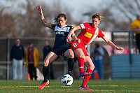 Sky Blue FC forward Kelley O'Hara (19) and Western New York Flash forward Adriana Martin (8). Sky Blue FC defeated the Western New York Flash 1-0 during a National Women's Soccer League (NWSL) match at Yurcak Field in Piscataway, NJ, on April 14, 2013.