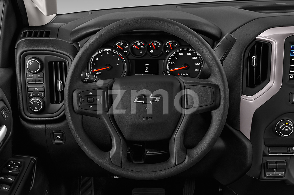 Car pictures of steering wheel view of a 2019 Chevrolet Silverado 1500 Custom Trail Boss 4 Door Pick Up