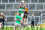 Who Dares Wins<br /> ----------------------<br /> Killarney Legion player Jack O'Neill gets above Stacks man Barry Shanahan to catch the kick out during the game between the sides at Fitzgerald Stadium, Killarney last Sunday afternoon.
